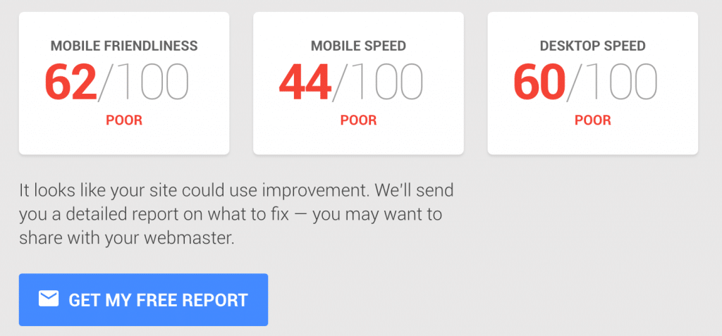 SEO Poor scores for mobile speed and mobile site