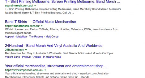 #1 for Band Merch Melbourne
