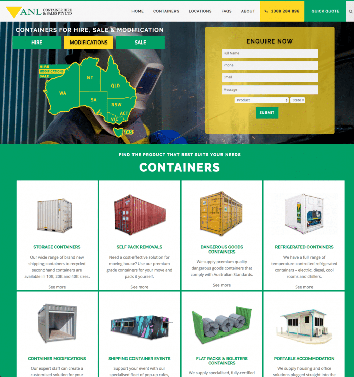 SEO Website Design & Development For Company ANL Containers