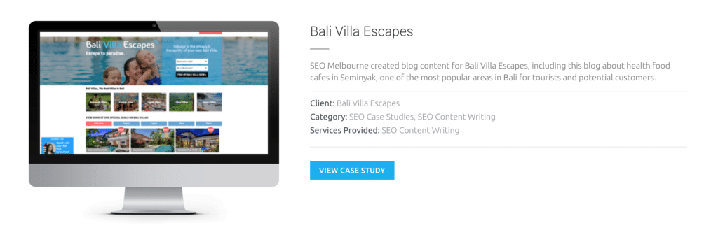 Copywriting SEO Melbourne Bali Villas
