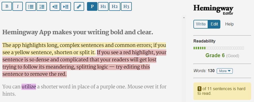 seo readability tools hemingway editor