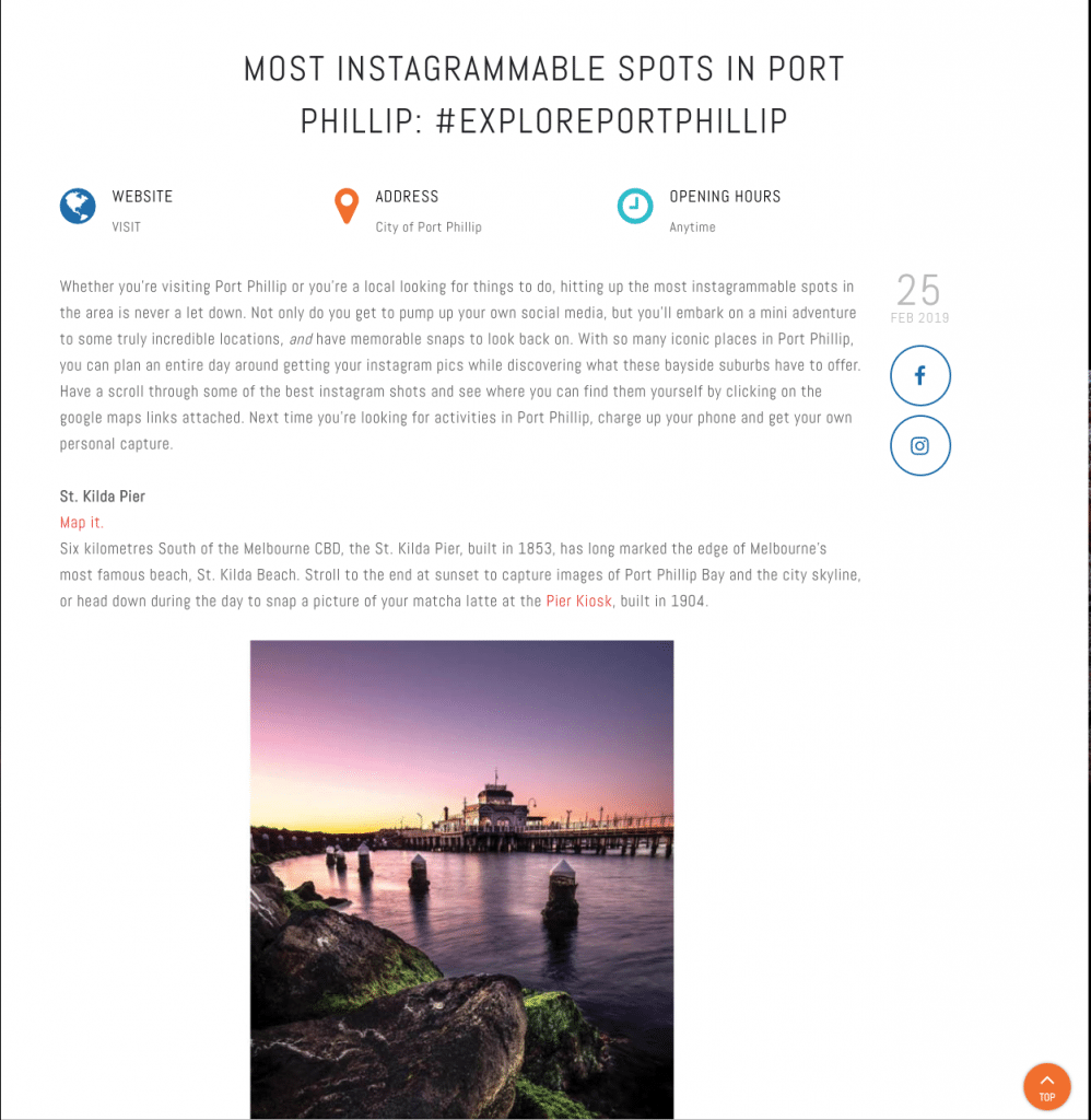 SEO Melbourne - City of Port Phillip Case Study - Instagram